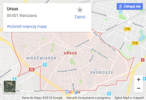 Mapa Google hydraulik Warszawa Ursus